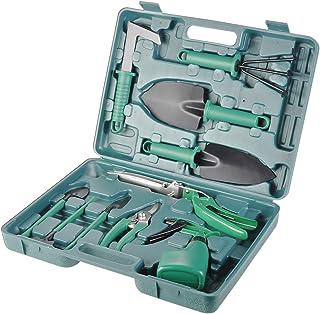 BYUEE Gardening Tool Set, 10 Pieces Garden Hand Tools Gifts for Gardener (Green)