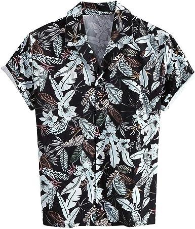 CAOQAO Camisa Hombre Hawaiana Verno Manga Corta Fashion Rayas Camiseta 2019