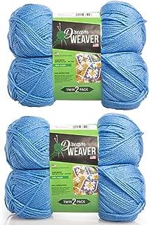 Dream Weaver 4パック 単色 S-ツイスト 100%アクリル ソフト糸 ニット用 かぎ針編みライト#3 ブルー DG-b611innerParisianBlue