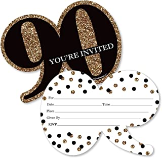 Adult 90th Birthday - Gold - Shaped Fill-in Invitations - Birthday Party Invitation Cards with Envelopes - Set of 12