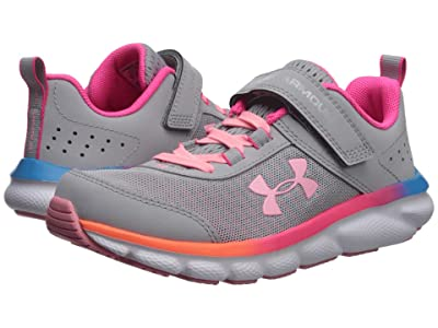 Under Armour Kids UA Assert 8 AC (Little Kid) (Mod Gray/Pinkadelic/Pop Pink) Girls Shoes