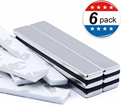 Strong Neodymium Bar Magnets with Double-Sided Adhesive, Rare-Earth Metal Neodymium Magnet - 60 x 10 x 3 mm, Pack of 6