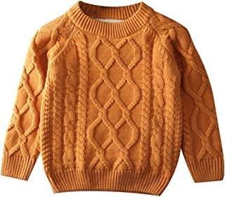Toddler Baby Boy Girl Cable Knit Pullover Sweater Cotton Lined Warm Sweatshirt