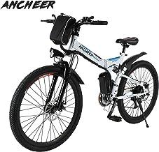 Ancheer bicicletta elettrica pieghevole bici da montagna ebike con batteria al litio da 26 pollici grande