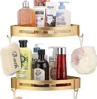 Corner Shower Caddy Basket,Bathroom Shower Organizer Storage Rack.Fashion Shower Shelf 2in1 Kitchen Spice Racks.2 Pack-Golden,2 Types of Installation,with Accessories Strong Glue
