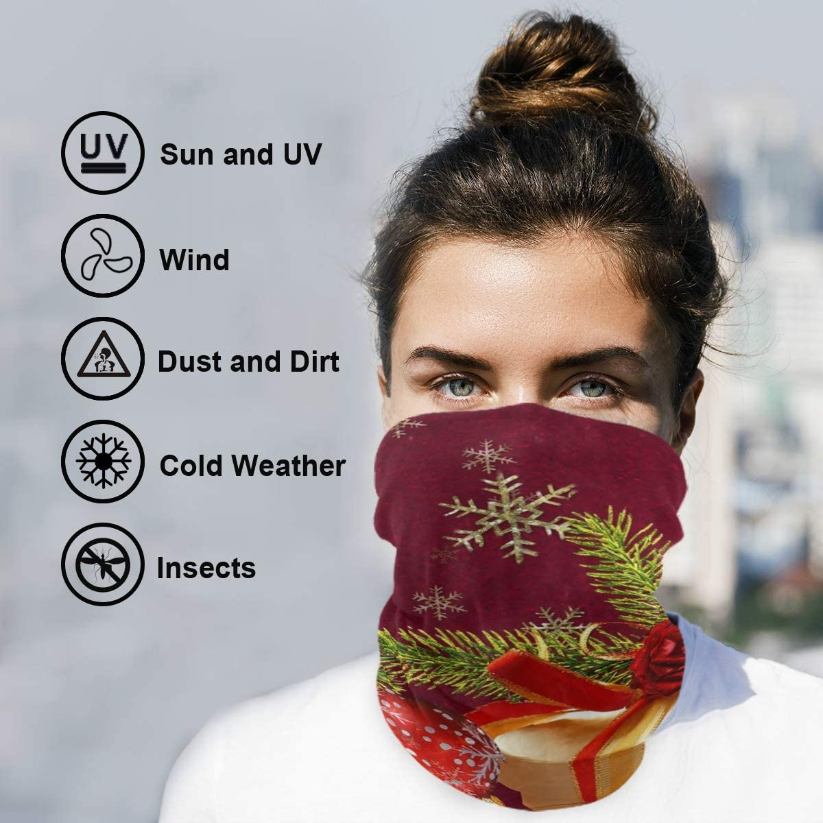 Protection Anti Droplet Christmas Gifts Red And Green Face Mask Summer UV Neck Gaiter Scarf Sunscreen Breathable Bandana for Sport Outdoor