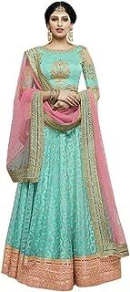 Blue Wedding Reception wear Taffeta Silk Indian Lehenga Cholis Women Stylish Ethnic dress 8161