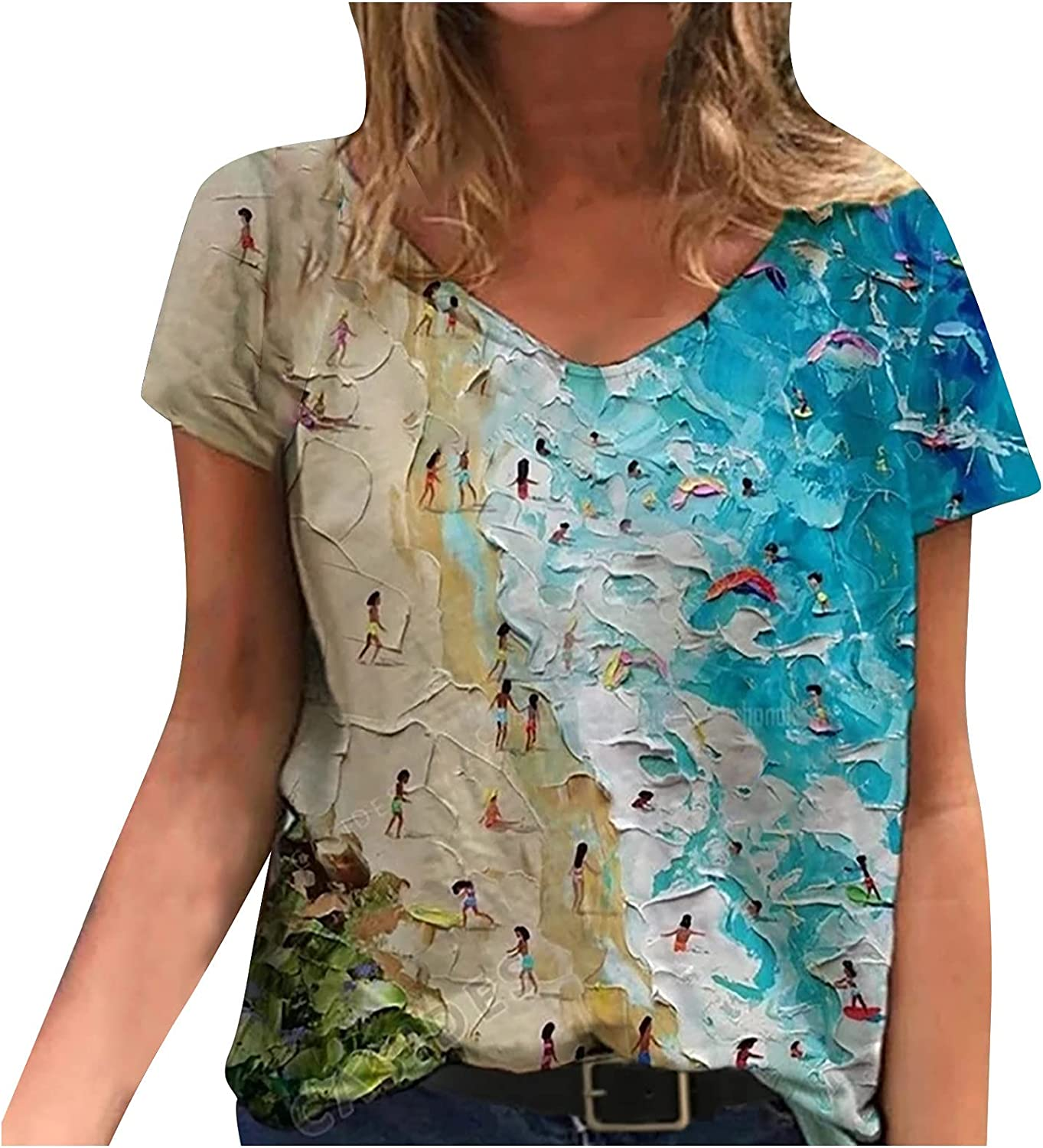 Women's Sunflower Graphic Tees Short Sleeve V Neck Tops Art Oil Painting Loose Casual Summer T-Shirts Clothes