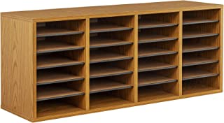 Safco Products Wood Adjustable Literature Organizer, 24 Compartment, Medium Oak, 9423MO