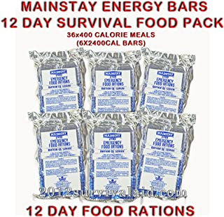 Mainstay Emergency Food 2400-cal Bars (Pack of 6) 12 Day Rations (36 Servings 3x400cal/per/day)