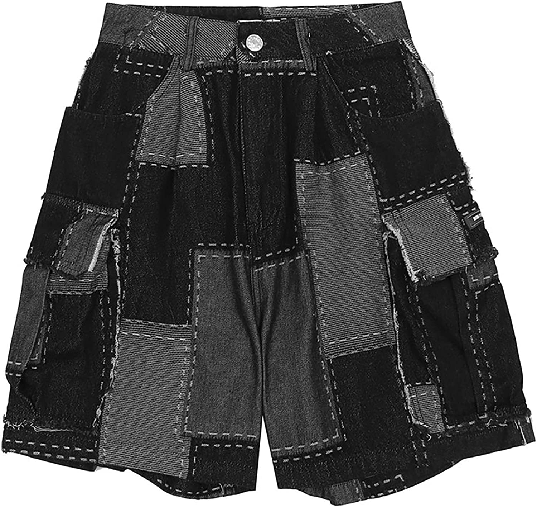 Trendy Brand Plaid Stitching Men's Denim Shorts Street Trend Big Pockets Loose Straight fivepoint Pants