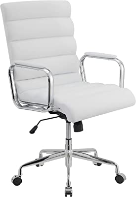 """Coaster Home Furnishings Channel Tufted White and Chrome Office Chair, 24.5"""" W x 27"""" D x 38.5-41.5"""" H"""