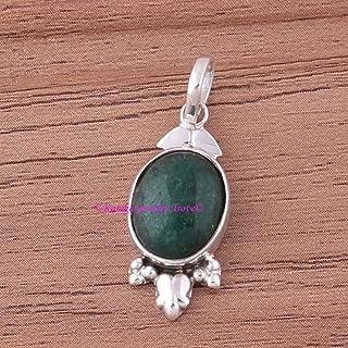 Emerald Pendant, 925 Sterling Silver Pendants for Womens, Oval Gemstone Pendants, Handmade May Birthstone Pendants,