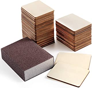 Caydo 50 Pieces Unfinished Blank Wood Slices 2.75 x 2 Inch Rectangle Unfinished Wood with Sanding Sponge for Pyrography, Painting, Writing, Drinks DIY Craft, Photo Props and Decoration