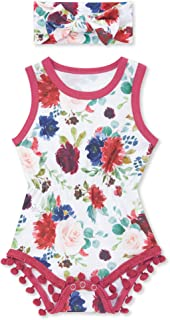 DONWEN Newborn Baby Girl Clothes Infant Floral Romper Letter Print Onesies Summer Outfits Set
