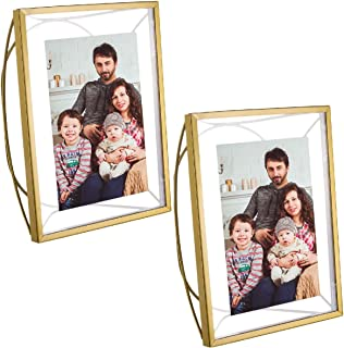 Better Homes and Gardens (2 Pack) Picture Frames, 4x6 Picture Frame Photo Frame Set, Floating Picture Frame With Free Standing Metal Arc, Matte Brass Finish & Glass