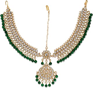 طقم مجوهرات كوندان اند بيرلز للشعر للنساء من زافيري بيرلز (ذهبي) (ZPFK8534)