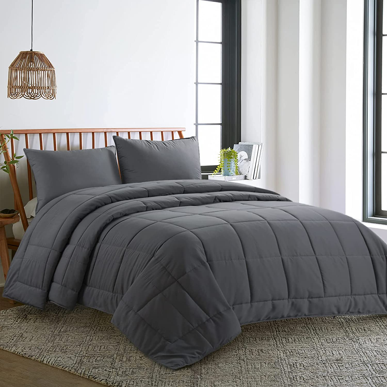 HOMBYS Ultra Import Max 90% OFF Soft Lightweight King Grey Oversized Bamboo-Filled