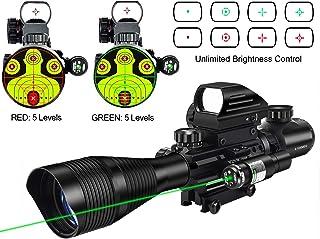 MidTen Riflescope Combo 4-12x50EG Dual Illuminated Optics & IIIA/2MW Laser Sight(Green) & 4 Holographic Reticle Red/Green Dot Sight & 20mm Scope Mount