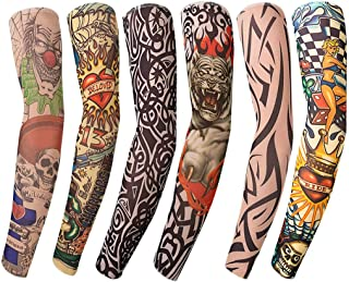 Benbilry 6pcs Art Arm Fake Tattoo Sleeves Cover For Unisex Party Cool Man Woman Fashion Tattoos & Body Art Temporary Waterproof Sunscreen Nylon Kit