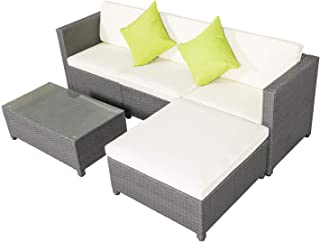 Cypress Shop Outdoor Rattan Wicker PE Sectional Furniture Set Table Sofa Cushioned Patio Garden Seat Sofa Single Ottoman Coffee Table Table Tempered Glass Home Furniture