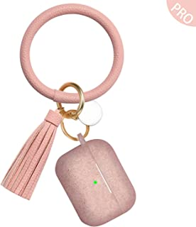 AirPods Pro Case with Cute Bracelet Keychain, Vcegari Anti-Dust Shock-Proof Durable Silicone Protective Cover Skin for Apple AirPods Pro Charging Case [Front LED Visible], Bling Rose Gold