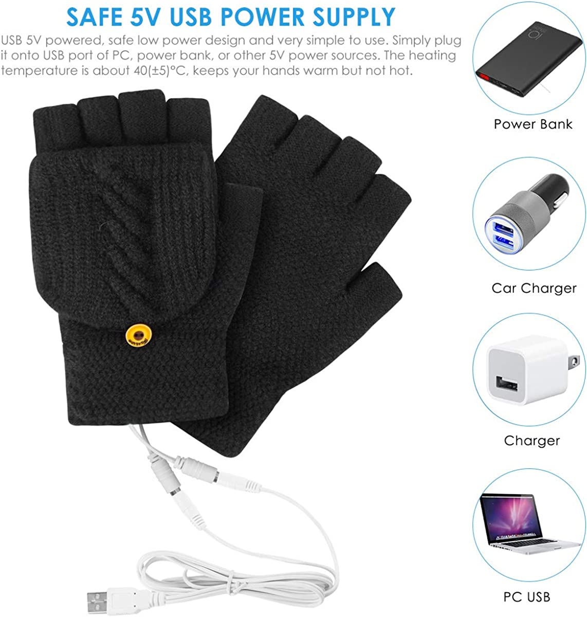 USB Heated Gloves Mitten Knitted Fingerless with Finger Cover Winter Warm for Men Women Typing Fishing Biking Camping Black