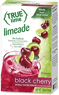 TRUE LIME Black Cherry Limeade Drink Mix (10 Packets)   Made from Real Limes   No Preservatives, No Artificial Sweeteners,...