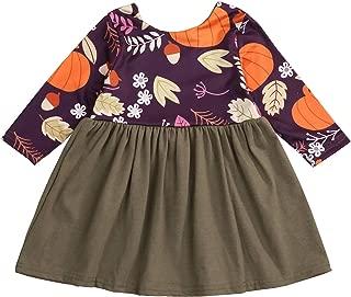 SEVEN YOUNG Halloween Toddler Baby Girls Pumpkin Dresses Long Sleeve Dress Fall Clothes Outfits Set