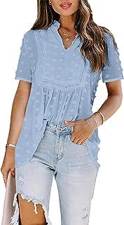 GOSOPIN Women Summer V Neck Floral Shirt Loose Button Down Blouse Tops