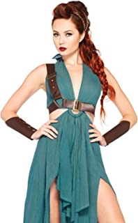 Leg Avenue Women's 4pc.Warrior Maiden,Dress,arm Cuffs,Shoulder Harness,Headpiece, Green, Medium