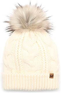 MIRMARU Women's Soft Faux Fur Pom Pom Slouchy Beanie Hat with Sherpa Lined- Thick, Soft, Chunky and Warm