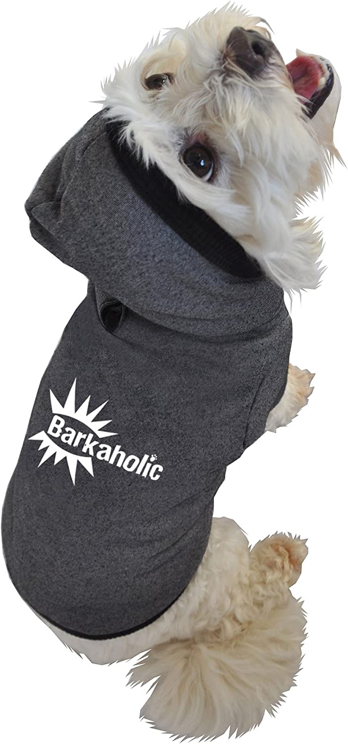 Ruff Ruff and Meow ExtraSmall Dog Hoodie, Barkaholic, Black