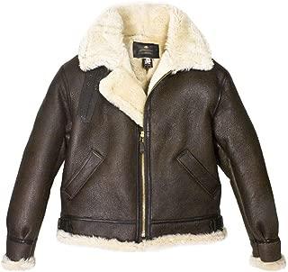 KAAZEE B3 Bomber WWII Real Sheepskin Leather Flight Aviator with Soft Artificial Fur Jacket