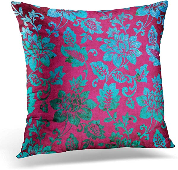 VANMI Throw Pillow Cover Vintage Lime Floral Damask Blue Pink Green Fuschia Decorative Pillow Case Home Decor Square 20x20 Inches Pillowcase