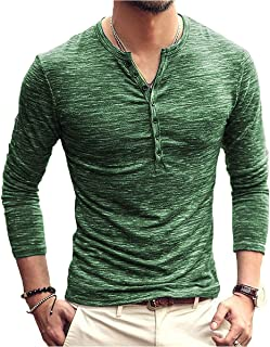 PERDONTOO Men's Slim Fit Long Sleeve Henley T-Shirt Casual Basic Tee
