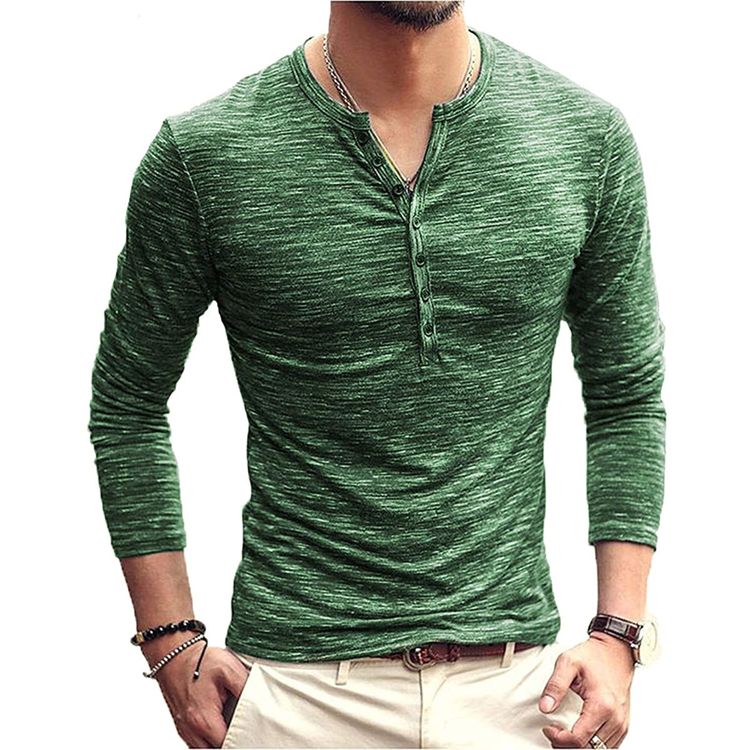 PERDONTOO Men's Slim Fit Long Sleeve Henley T-Shirt Casual Basic Tee