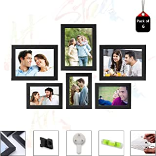 Art Street Set of 6 Individual Black Wall Photo Frames Wall Decor Free Hanging Accessories Included ||Mix Size||3 Unit 4x6...