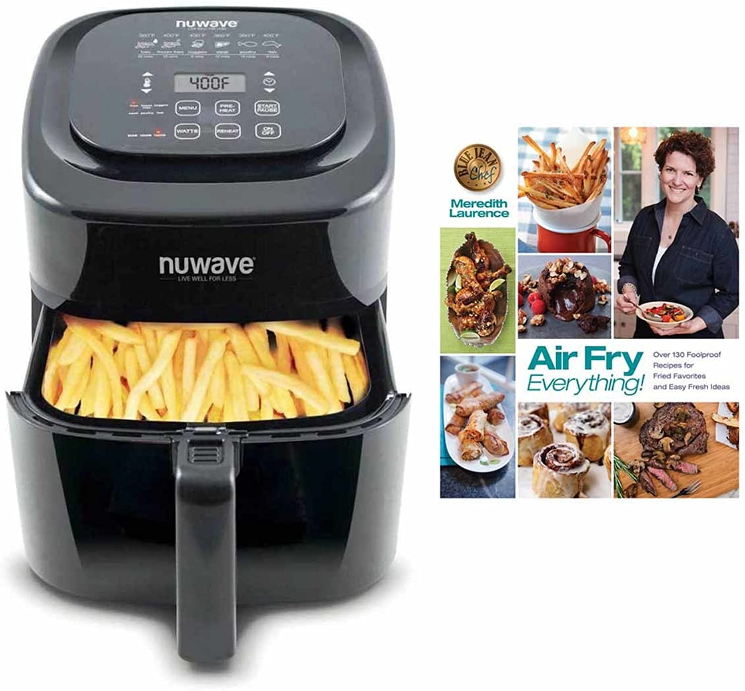 Nuwave 6 qt Brio Air Fryer Black w   Air Fry Everything  Cookbook