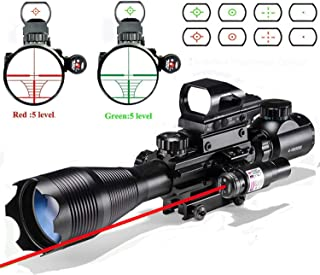 Rifle Scope Combo C4-16x50EG Dual Illuminated with Laser sight 4 Holographic Reticle Red/Green Dot for Weaver/Rail Mount