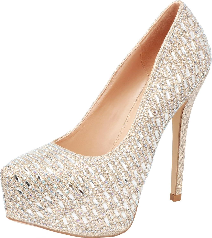 Cambridge Select Women's Glitter Crystal Rhinestone Slip-On Chunky Platform High Heel Pump