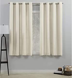Exclusive Home Curtains Loha Linen Grommet Top Curtain Panel Pair, 54x63, Ivory, 2 Count