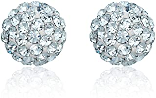 AVORA 10K Yellow Gold White Swarovski Elements Crystal Ball Stud Earrings