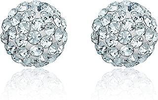 10K Yellow Gold White Swarovski Elements Crystal Ball Stud Earrings