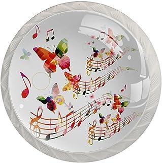 Paquet de 4 boutons d'armoire de cuisine, boutons pour tiroirs de commode Note musicale aquarelle Tire les poignées de porte