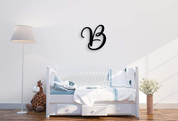 XL Wall Decor Letters Uppercase B 24 Wood Paintable Script Capital Letters For Nursery Home D Cor Wedding Guest Book And More By ROOM STARTERS B 24 Black 3 4 Thick