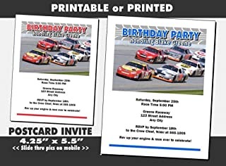 Daytona 500 Birthday Party Invitation, Blue or Red, Printable or Printed Option