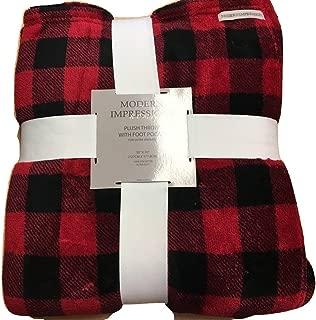 Modern Impression Home Plush Throw w Foot Pocket RED/BLACK PLAID