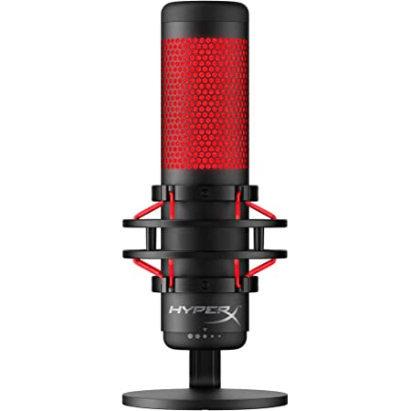 HyperX QuadCast - USB Condenser Gaming Microphone, for PC, PS4 and Mac, Anti-Vibration Shock Mount, Four Polar Patterns, Pop Filter, Gain Control, Podcasts, Twitch, YouTube, Discord, Red LED