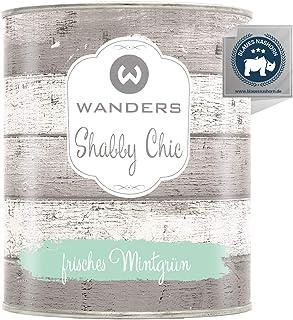Wanders24 Kreidefarbe 750 ml, frisches Mintgrün Holzfarbe für Shabby Chic Look - Möbelfarbe einfach zu verarbeiten - Möbellack auf Wasserbasis - Made in Germany
